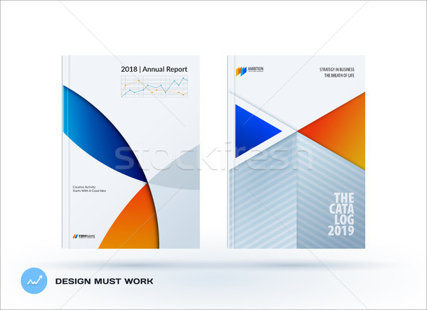 Material design template with blue orange colourful circles intersections. Creative abstract brochur Stock photo © Diamond-Graphics