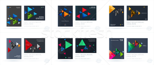 Brochure design triangular template. Colourful modern abstract set, annual report with triangles for Stock photo © Diamond-Graphics