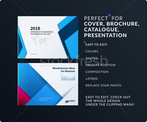 Material design of brochure set, abstract annual report, horizontal cover Stock photo © Diamond-Graphics