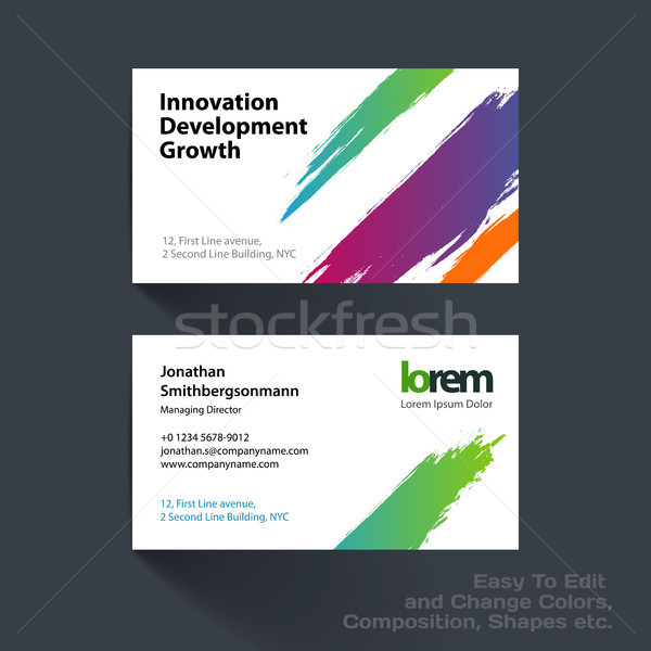 Vector business card template with with grunge colourful stroke Stock photo © Diamond-Graphics