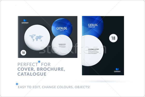 Template. Creative abstract design of brochure set, horizontal cover, flyer in A4 with blue colourfu Stock photo © Diamond-Graphics