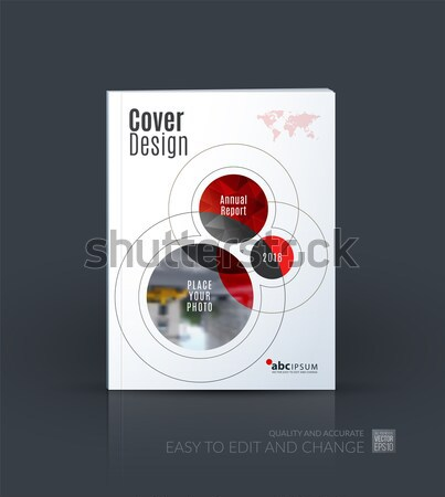 Template. Creative red abstract design of brochure set, horizontal cover, flyer in A4 with colourful Stock photo © Diamond-Graphics