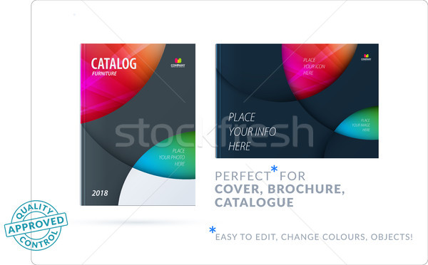 Template. Creative abstract design of brochure set, horizontal cover, flyer in A4 with colourful cir Stock photo © Diamond-Graphics