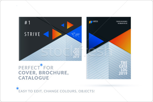 Material design template. Creative blue orange colourful abstract brochure set, annual report on bla Stock photo © Diamond-Graphics