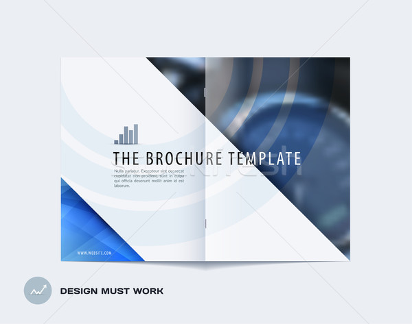 Abstract double-page brochure design triangular style with blue colourful triangles for branding. Bu Stock photo © Diamond-Graphics