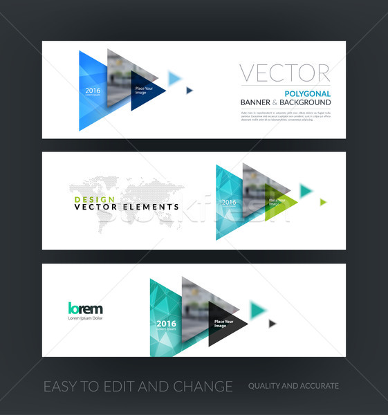 Vector set of modern horizontal website banners with flying tria Stock photo © Diamond-Graphics