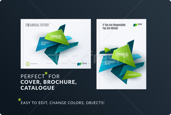 Stock photo: Set of design brochure, abstract annual report, horizontal cover layout, flyer in A4 with vector col