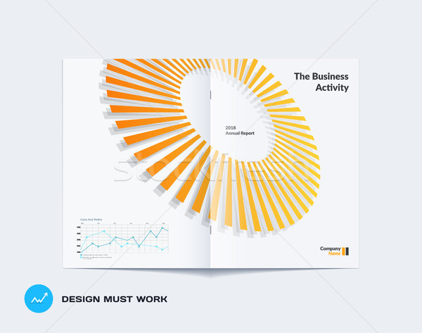 Abstract yellow grey brochure design, modern catalog, centerfold cover, flyer in A4 with colourful r Stock photo © Diamond-Graphics