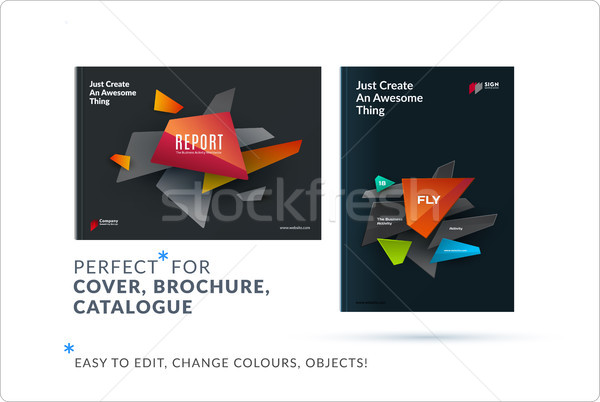 Set of design brochure, abstract annual report, horizontal cover layout, flyer Stock photo © Diamond-Graphics