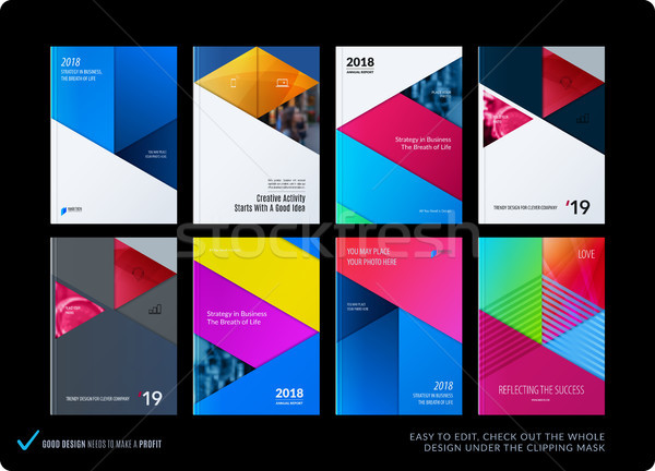 Material design template. Creative red colourful abstract brochure set, annual report, horizontal co Stock photo © Diamond-Graphics