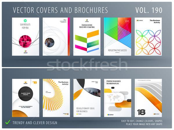 Projektu zestaw kolorowy streszczenie szablony działalności Zdjęcia stock © Diamond-Graphics