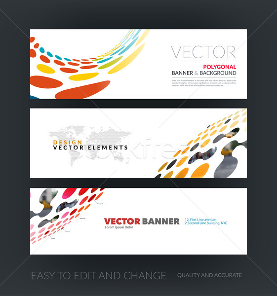 Vector set of modern horizontal website banners with perspective Stock photo © Diamond-Graphics