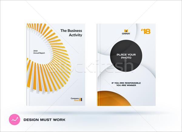 Creative design jaune gris affaires brochure Photo stock © Diamond-Graphics