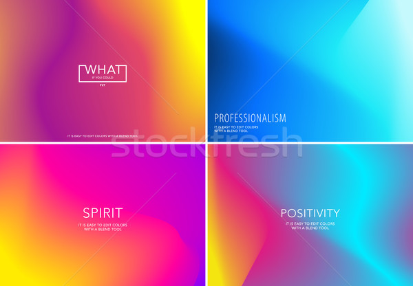 Liquid fluid design of colourful abstract vector blend background for graphic template. Set Stock photo © Diamond-Graphics