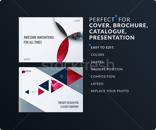 Material design presentation template with red colourful circles intersections. Abstract vector set  Stock photo © Diamond-Graphics