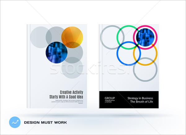 Brochure design round template. Colourful modern abstract set, annual report with circles rings for  Stock photo © Diamond-Graphics