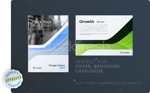 Template. Creative abstract minimal design of brochure set, annual report, horizontal cover, flyer i Stock photo © Diamond-Graphics