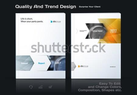 Template. Creative yellow grey abstract minimal design of brochure set, annual report, horizontal co Stock photo © Diamond-Graphics