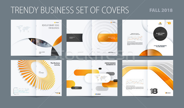 Diseno establecer resumen folleto amarillo colorido Foto stock © Diamond-Graphics