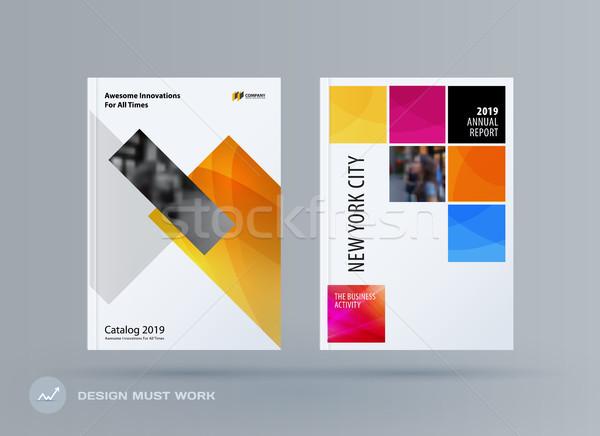 Broszura projektu prostokątny szablon kolorowy nowoczesne Zdjęcia stock © Diamond-Graphics