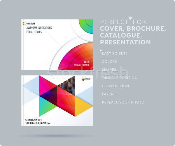 Smooth design presentation template with colourful round