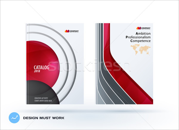 Creative design of business brochure set, abstract horizontal cover layout, flyer in A4 with red col Stock photo © Diamond-Graphics