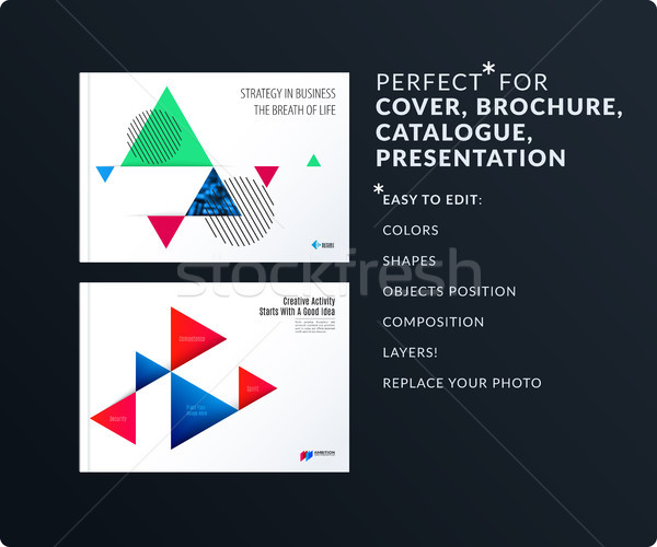 Triangular design presentation template with colourful triangles shadows. Abstract vector set of mod Stock photo © Diamond-Graphics