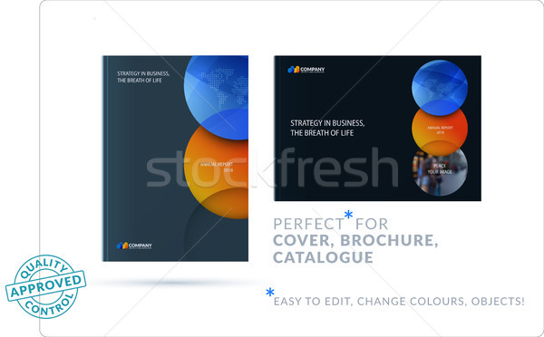 Template. Creative orange blue abstract design of brochure set, horizontal cover, flyer in A4 with c Stock photo © Diamond-Graphics