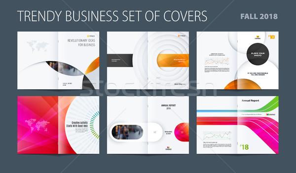 Projektu zestaw streszczenie broszura kolorowy circles Zdjęcia stock © Diamond-Graphics