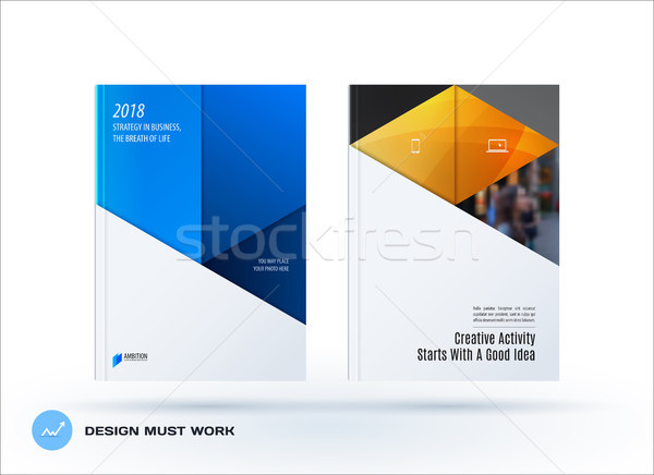 Material design template. Creative blue yellow colourful abstract brochure set, annual report, horiz Stock photo © Diamond-Graphics