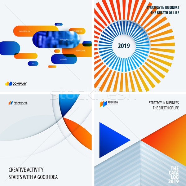 Design set of blue orange colourful abstract vector elements for modern background with circles, squ Stock photo © Diamond-Graphics