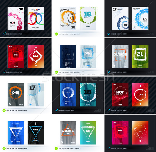 Set of abstract design vector, template cover, poster, flyer Stock photo © Diamond-Graphics