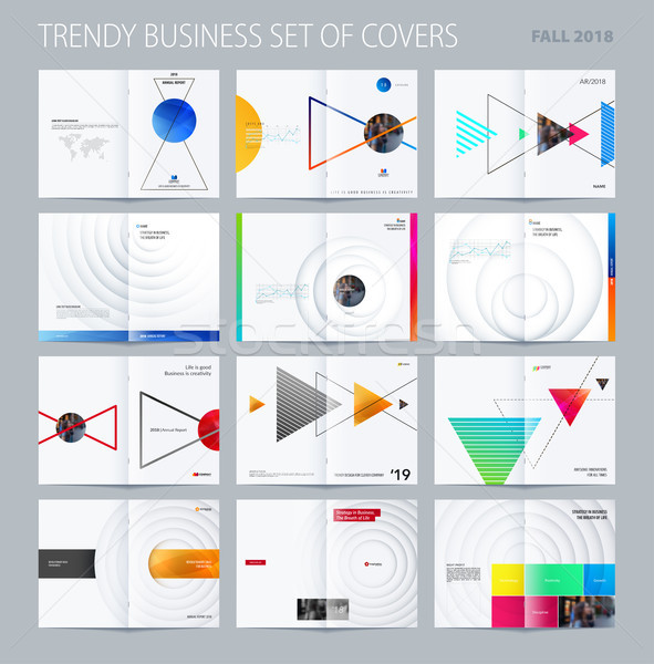 Abstract double-page brochure design style with colourful triangles for branding. Business vector pr Stock photo © Diamond-Graphics