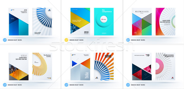 Material design template. Creative colourful abstract brochure set, annual report, horizontal cover Stock photo © Diamond-Graphics