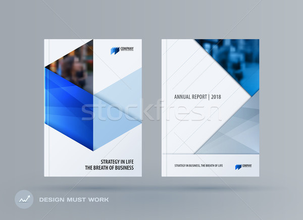 Brochure design triangles template. Colourful modern abstract set, annual report with triangles for  Stock photo © Diamond-Graphics