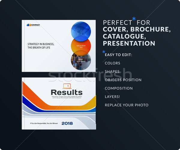 Presentation. Abstract orange blue vector set of modern horizontal templates with colourful smooth s Stock photo © Diamond-Graphics