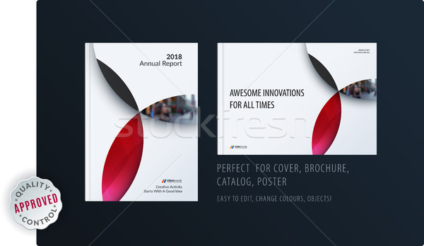 Material design template with red colourful circles intersections. Creative abstract brochure set, a Stock photo © Diamond-Graphics