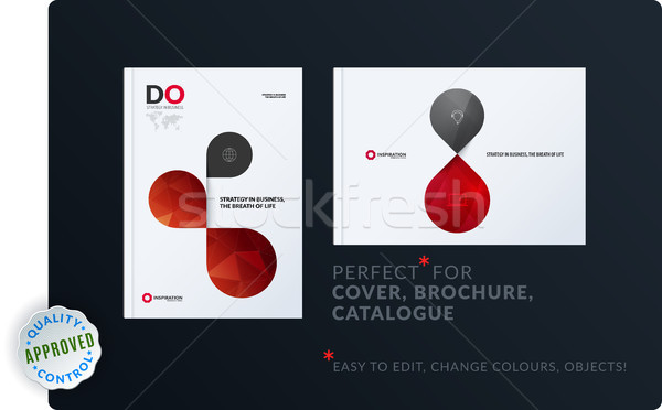 Creative design of brochure set, abstract annual report, horizontal cover layout, flyer in A4 with v Stock photo © Diamond-Graphics
