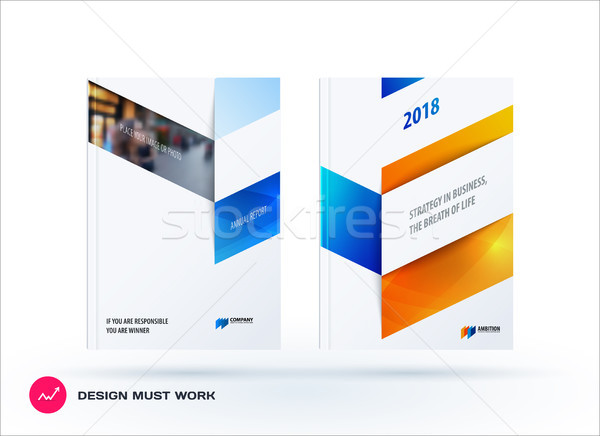 Business set of design brochure, abstract annual report, horizontal cover flyer in A4 with colourful Stock photo © Diamond-Graphics