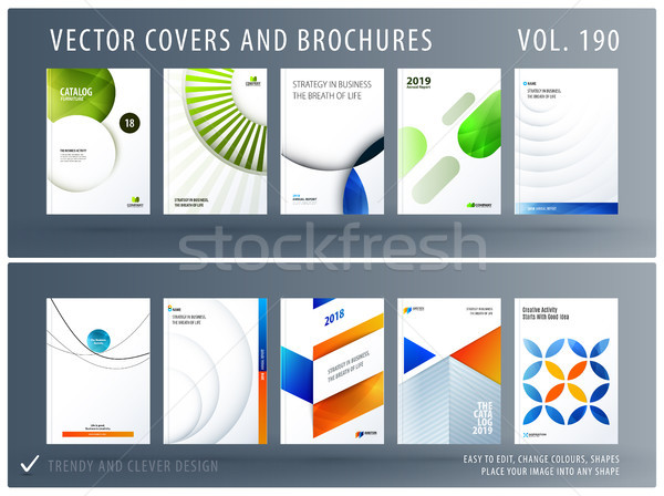 Design set of colourful abstract templates for business, trendy shapes, circles, rounds, rectangles, Stock photo © Diamond-Graphics