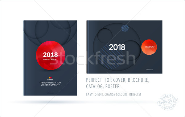 Brochure design paper-cut template. Colourful creative abstract set, annual report with circles shad Stock photo © Diamond-Graphics