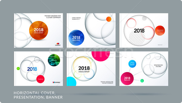 Material design presentation template with colourful circles intersections. Abstract vector set of m Stock photo © Diamond-Graphics