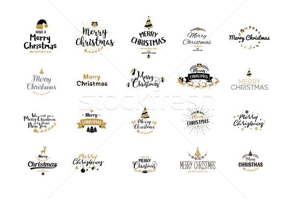陽気な クリスマス タイポグラフィ 手書き 文字 デザイン ストックフォト © Diamond-Graphics