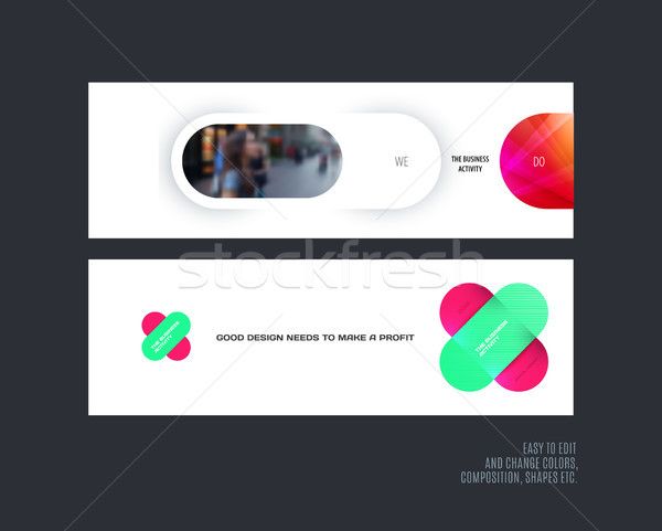 Abstract vector set of modern horizontal website banners with colourful rounded shapes, abstract sha Stock photo © Diamond-Graphics