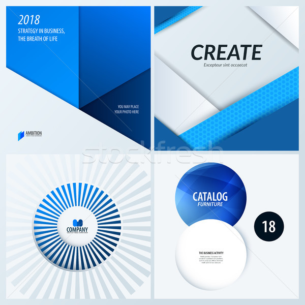Material design of blue colourful abstract vector elements for graphic template. Stock photo © Diamond-Graphics