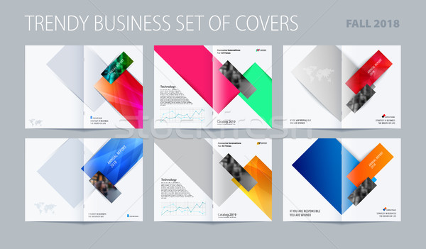 Abstract double-page brochure design rectangular style with colourful rectangles for branding. Busin Stock photo © Diamond-Graphics