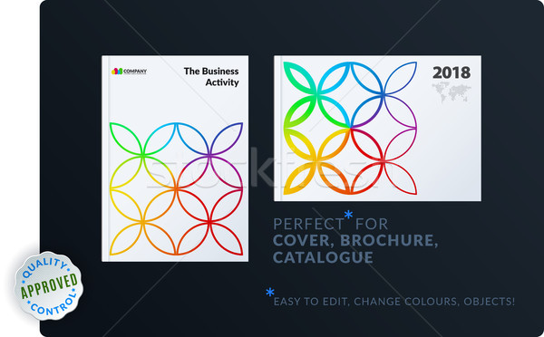 Stock photo: Creative design of brochure set, abstract annual report, horizontal cover, flyer in A4