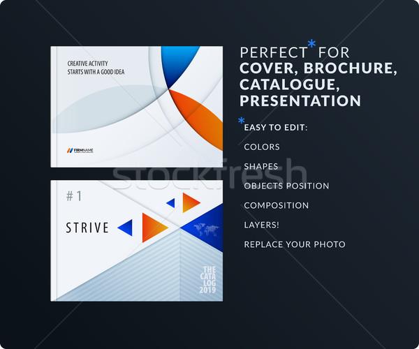 Material Design Präsentation Vorlage blau orange Stock foto © Diamond-Graphics