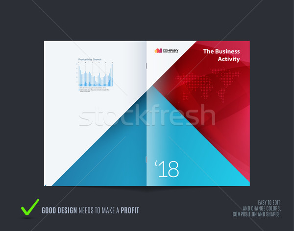 Material design of brochure set, abstract annual report, horizontal cover layout, flyer in A4 with v Stock photo © Diamond-Graphics