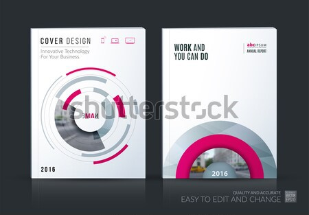 Template. Creative abstract minimal design of red brochure set, annual report, horizontal cover Stock photo © Diamond-Graphics